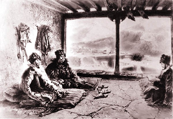 Чтение Корана в Хосрехе. Рисунок Г. Гагарина, 1842 г.